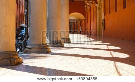 Bologna, Italy - May, 28, 2017: colonnade in a center of Bologna