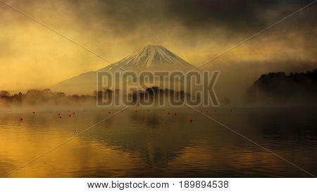 Mount Fuji At Sunrise In Lake Shoji