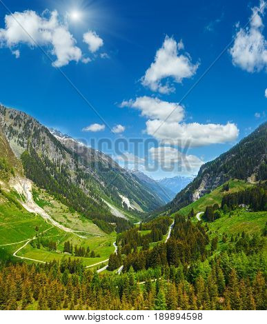 Alpine Sunshiny View From Kaunertaler Gletscherstrasse (austria)