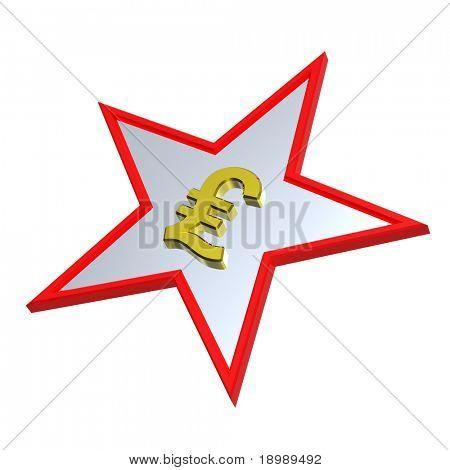 Gold-Pfund-Zeichen in der Star, isoliert auf weiss. Computer generierte Foto 3D-Rendering.