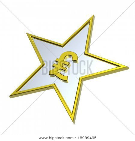 Gold Pound sign in the star isolated on white. Computer generated 3D photo rendering.