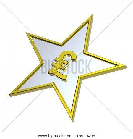 Gold-Pfund-Zeichen im isolated on White Star. Computergenerierte 3D Foto Rendering.