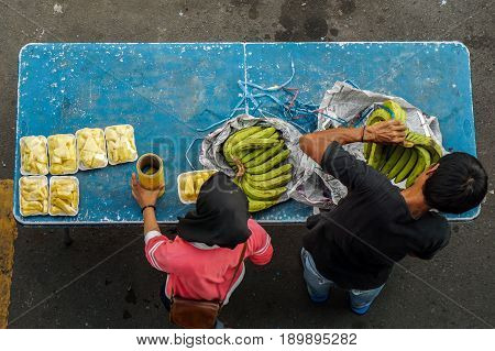 Kota Kinabalu,Sabah,Malaysia-May 28,2017:Fruits packed on the table at street local fruits in Kota Kinabalu,Sabah,Borneo.Kota Kinabalu is known as one of the most popular fruit capitals in the Sabah,Borneo,Malaysia,Asia.