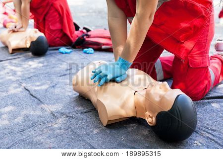 First aid training detail. Cardiopulmonary resuscitation - CPR. Heart massage.
