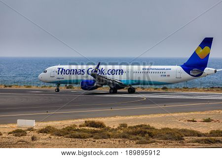 Arecife, Spain - April, 16 2017: Airbus A321 Of Thomascook.com With The Registration G-tcdb Ready To