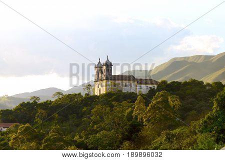 View Of The Unesco World Heritage City Of Ouro Preto In Minas Gerais, Brazil