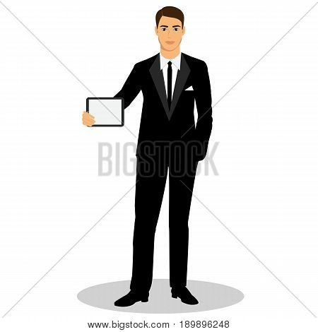 Businessman. Man with tablet. Man with ipad. Profession. Isolated objects. Vector illustration.