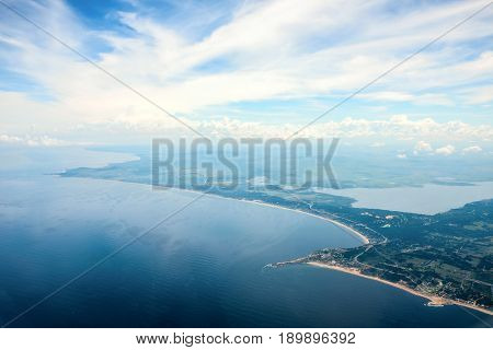 Panoramic view of endless beaches and Punta Ballena horn near city Punta del Este Uruguay Atlantic coast
