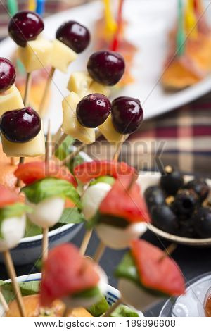 Cherry Cheese Skewer And Other Fresh Finger Foods.
