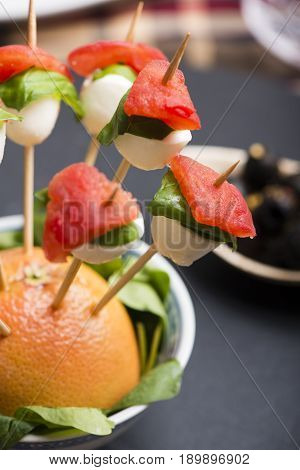 Tomato Mozzarella Skewer And Other Freh Finger Food.