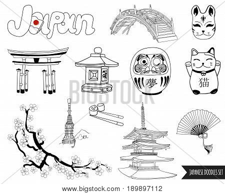 VECTOR set of japanese doodles. outline drawings isolated on white background