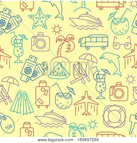 Summer Vocation pattern. Vector illustration of seamless pattern with summer symbols.