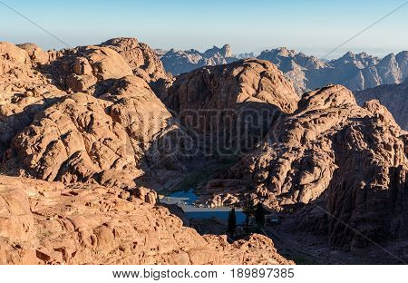 Egypt, Sinai, Mount Moses. View From Road On Which Pilgrims Climb The Mountain Of Moses And Little M