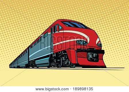 high speed passenger train. Passenger rail transport. Pop art retro vector illustration