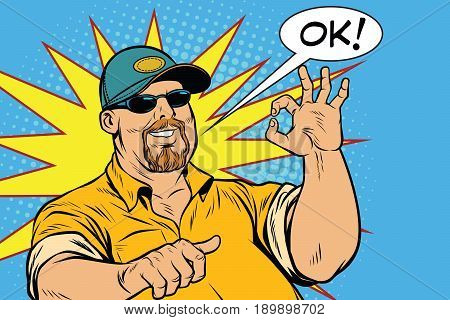 The bearded male and gesture okay. Pop art retro vector illustration