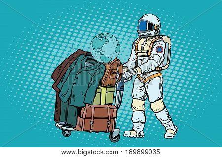 Astronaut traveler with baggage cart. Pop art retro vector illustration
