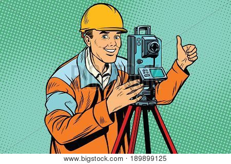 Builder surveyor with a theodolite optical instrument for measuring distances. Pop art retro vector illustration