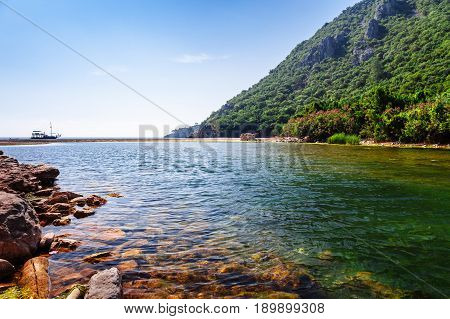 Beach Near Of Ancient Greek And Roman Ancient City Of Olympos Coast Kemer Antalya Turkey