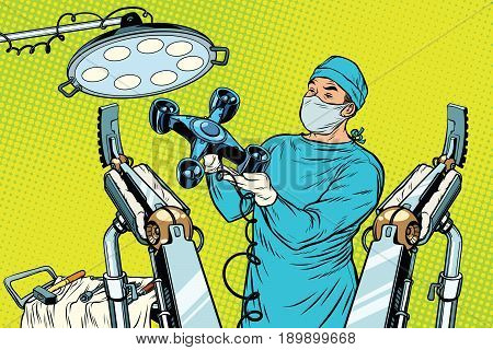 Obstetrician delivered a baby robot quadcopter drone. new technology and gadgets. Pop art retro vector illustration