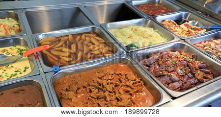 Chinese fast food buffet food in restaurant