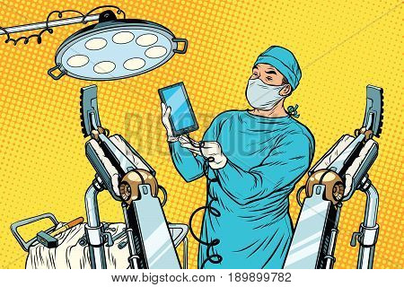 Obstetrician delivered a baby robot smartphone phone. new technology and gadgets. Pop art retro vector illustration