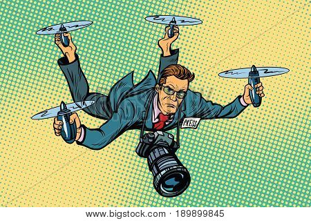 People journalist quadcopter drone. paparazzi photographer blogger. Pop art retro vector illustration