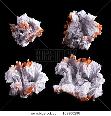 Collection of Crumpled piece of white squared paper exercise book on black background. Set of blank note paper.