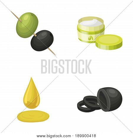 Olives on skewers. A piece of black olives, a jar of cream, a drop of oil.Olives set collection icons in cartoon style vector symbol stock illustration .
