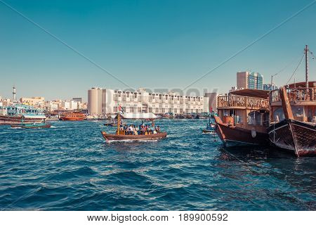Panoramic View From Water Taxi Boats Pier In Dubai, Uae. Creek Gulf And Deira Area. United Arab Emir