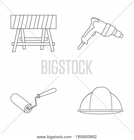 A barrier on the construction site, an electric drill, a roller for painting and a helmet. Build and repair set collection icons in outline style vector symbol stock illustration .