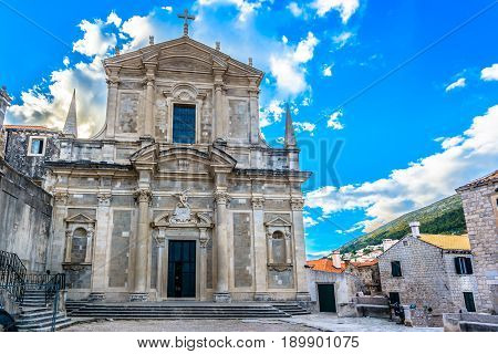 View at majestic church of St. Ignatius in old famous Dubrovnik town, Croatia.