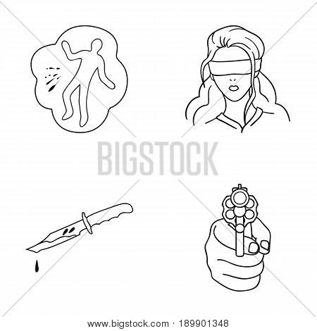 A crime scene, a bloody knife, a hostage, a directed pistol. Crime set collection icons in outline style vector symbol stock illustration .