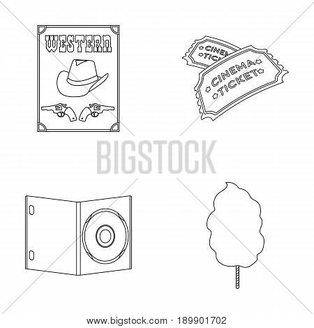 Western cinema, tickets, sweet cotton wool, film on DVD.Filmy and cinema set collection icons in outline style vector symbol stock illustration .