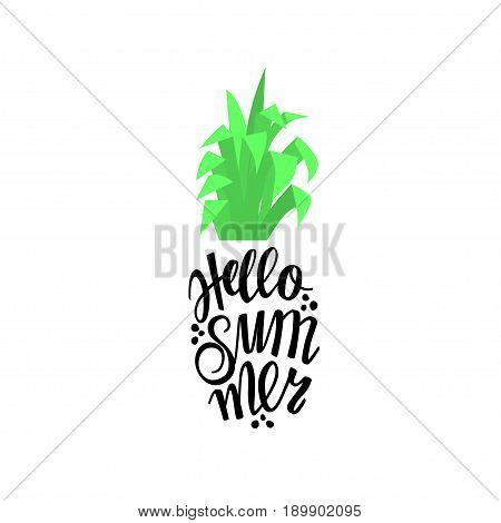 Pineapple in the form of lettering with the word hello summer. Illustration pineapple for the printing press on the T-shirt and other. Graphics, vector