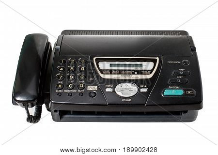 Black fax isolated on white background.  office equipment