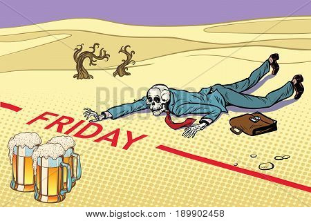 Mugs of beer, the man did not live until Friday. Next to the dream. A dead traveler skeleton. The end. Pop art retro vector illustration