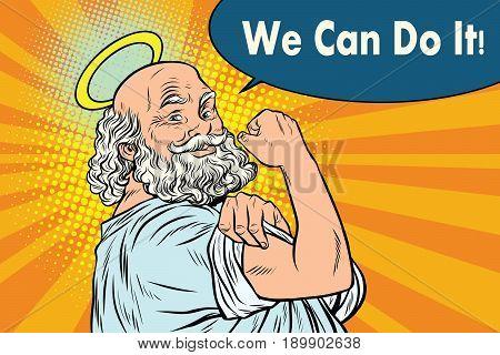 Mythical God we can do it. Religion and faith. Pop art retro vector illustration