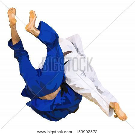 fighter judo throw for ippon in competition judo vector illustration