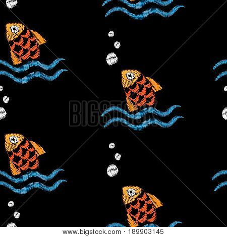 Seamless pattern with embroidery stitches imitation fish and wave illustration. Marine embroidery pattern vector background for printing on fabric paper for scrapbook gift wrap.