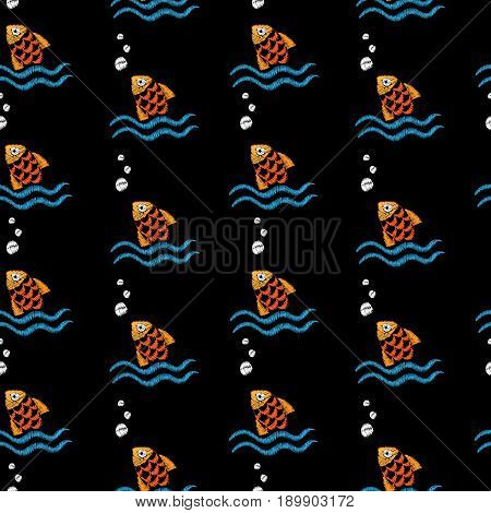 Seamless pattern with embroidery stitches imitation little fish and wave. Marine embroidery pattern vector background for printing on fabric paper for scrapbook gift wrap.