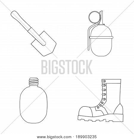 Sapper blade, hand grenade, army flask, soldier s boot. Military and army set collection icons in outline style vector symbol stock illustration .