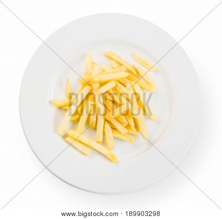 Crispy fried potato chips, french fries top view at white plate, isolated