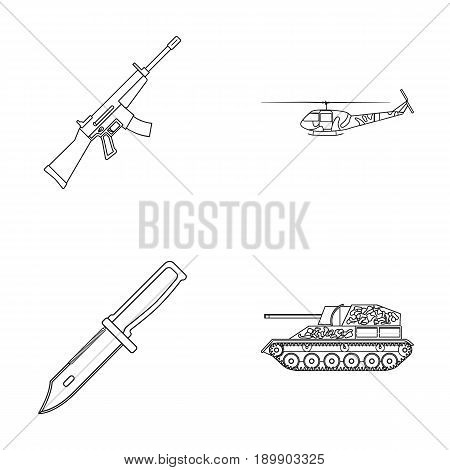 Assault rifle M16, helicopter, tank, combat knife. Military and army set collection icons in outline style vector symbol stock illustration .