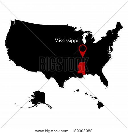 map of the U.S. state of Mississippi on a white background
