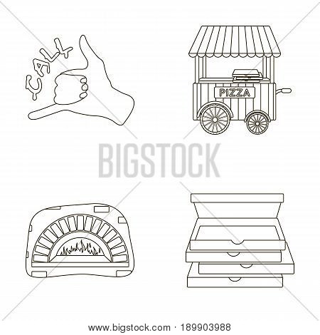 Order pizza gesture, box for pizza, oven, trailer. Pizza and pizzeria set collection icons in outline style vector symbol stock illustration .