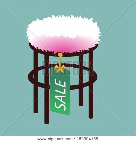 Pouf furniture vector illustration isolated on softly turquoise background
