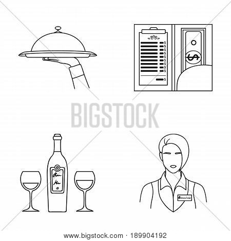 A tray with a cloth, check and cash, a bottle of wine and glasses, a waitress with a badge. Restaurant set collection icons in outline style vector symbol stock illustration .