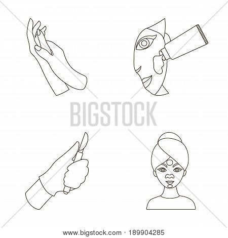 Hand moisturizing, scalpel surgeon mask on face, cream on face. Skin are set collection icons in outline style vector symbol stock illustration .