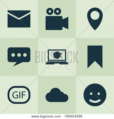 Internet Icons Set. Collection Of Overcast, Camcorder, Flag And Other Elements. Also Includes Symbols Such As Pennant, Bookmark, Technology.