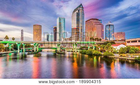Tampa, Florida, USA downtown skyline on the Hillsborough River. poster